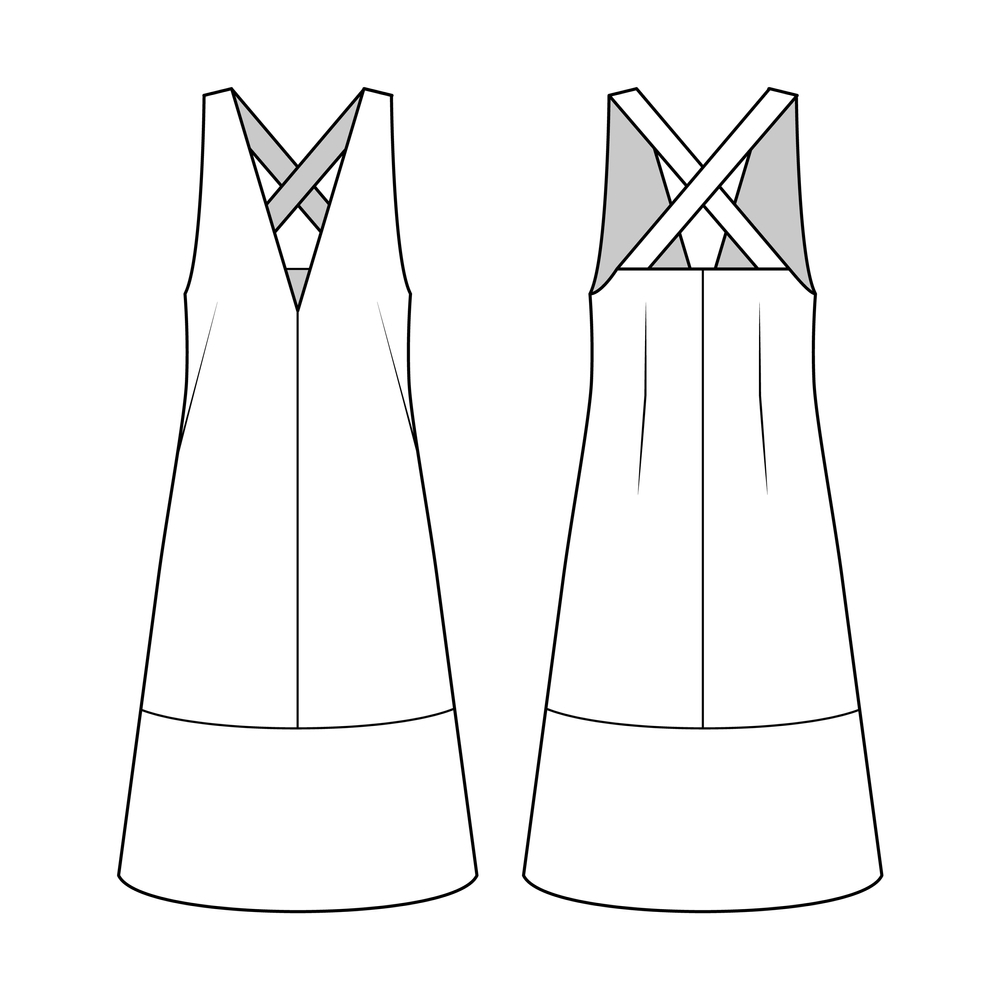 Fashion Technical Drawing Pinafore Dress