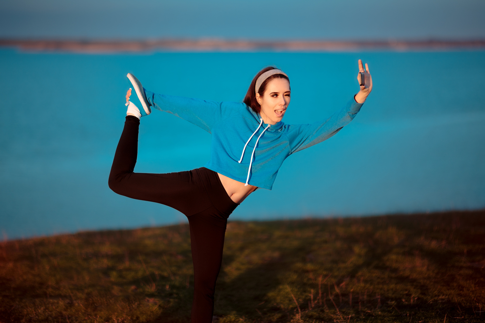 Girl doing exercise in athleisure